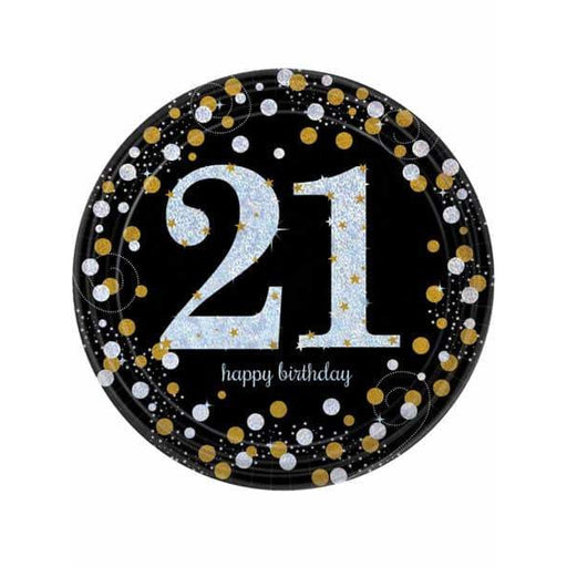 Gold Celebration 21st Birthday Paper Plates 8pk