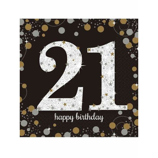 Gold Celebration 21st Birthday Lunch Napkins 16pk