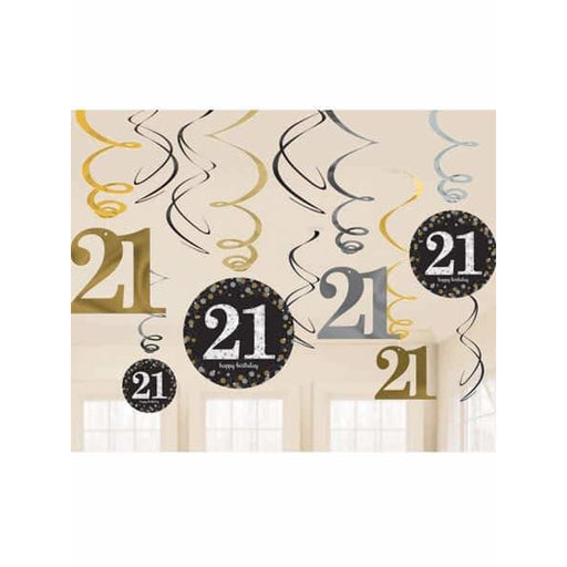 Gold Celebration 21st Swirl Decorations 12pk