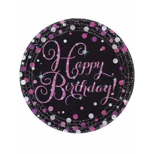 Pink Celebration Birthday Paper Plates 8pk