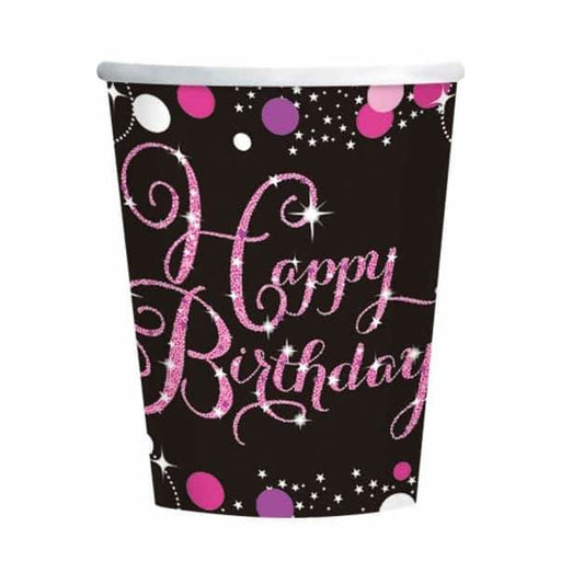 Pink Celebration Birthday Paper Cups 8pk