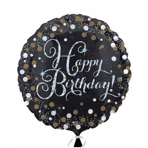 Gold And Black Happy Birthday Foil Balloon