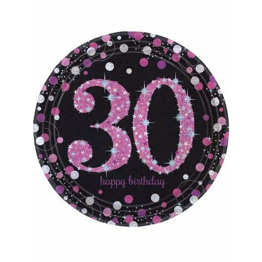 Pink Celebration 30th Birthday Paper Plates 8pk