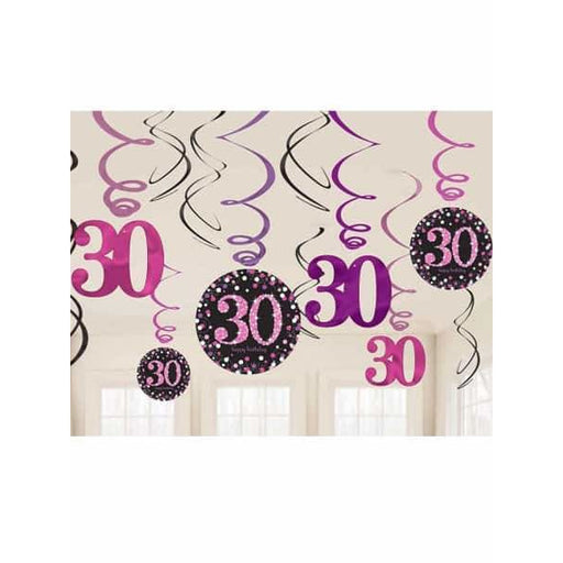 Pink Celebration 30th Swirl Decorations 12pk