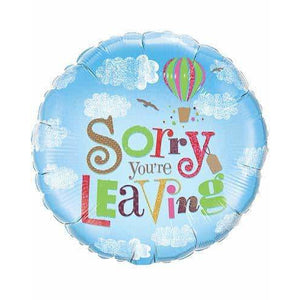 Sorry Your Leaving Blue Sky Foil Balloon - mypartymonsterstore
