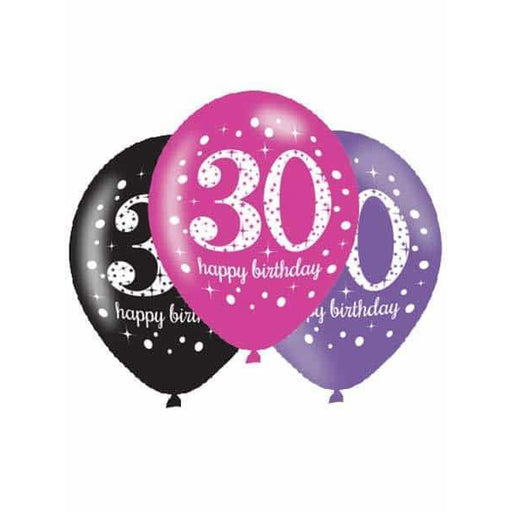 Pink Celebration 30th Latex Balloons 6pk