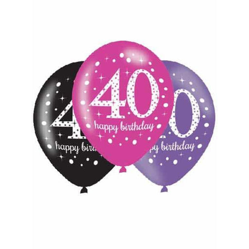 Pink Celebration 40th Latex Balloons 6pk