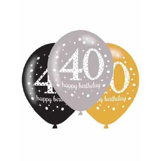 Gold Celebration 40th Latex Balloons 6pk