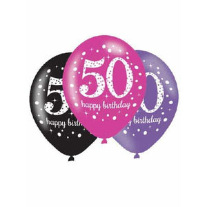 Pink Celebration 50th Latex Balloons 6pk - mypartymonsterstore