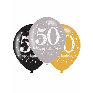 Gold Celebration 50th Latex Balloons 6pk - mypartymonsterstore