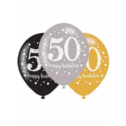Gold Celebration 50th Latex Balloons 6pk