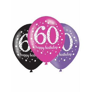 Pink Celebration 60th Latex Balloons 6pk