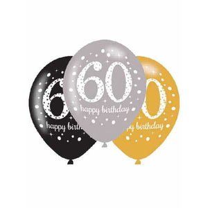 Gold Celebration 60th Latex Balloons 6pk