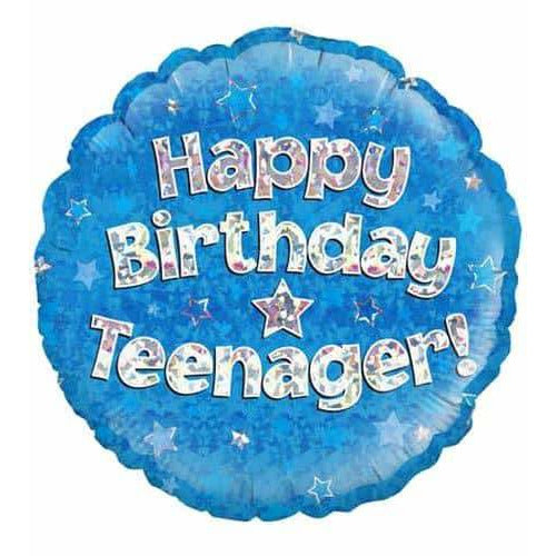 Happy Birthday Teenager Blue Holographic Foil Balloon