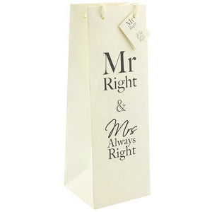 Mr And Mrs Always Right Bottle Gift Bags - mypartymonsterstore