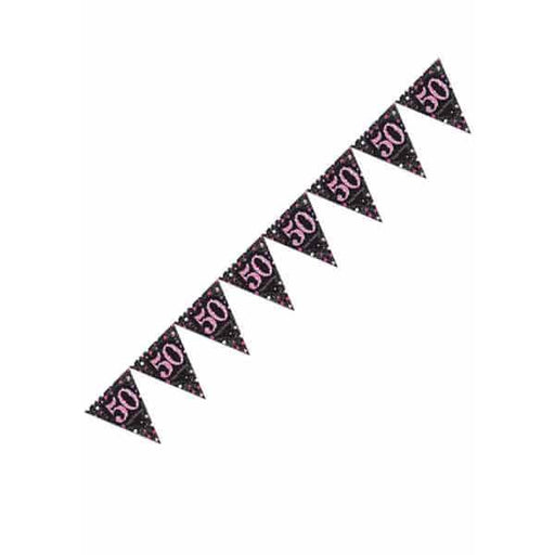 Pink Celebration 50th Pennant Banner