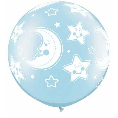 Pearl Light Blue Baby Moon & Stars Giant Latex Balloons x2