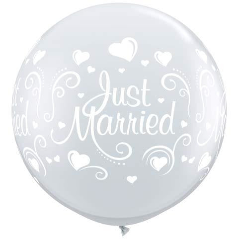 Diamond Clear Just Married Hearts Giant Latex Balloons x2