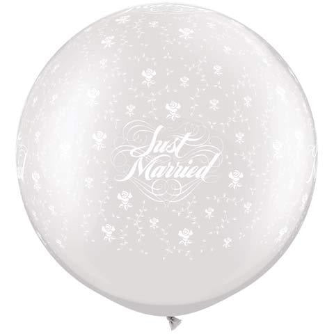 Pearl White Just Married Flowers Giant Latex Balloons x2