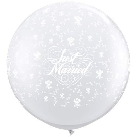 Just Married Flowers Neck Down Giant Latex Balloons x2