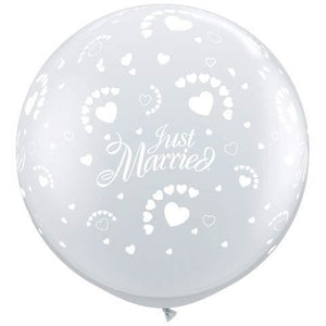 Just Married Hearts Neck Down Giant Latex Balloons x2