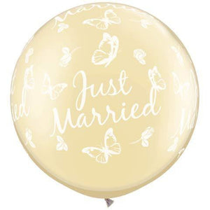 Pearl Ivory Just Married Butterflies Giant Latex Balloons x2