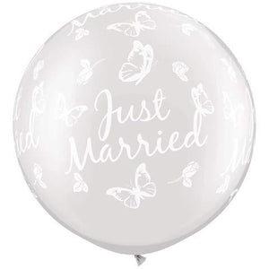 Pearl White Just Married Butterflies Giant Latex Balloons x2