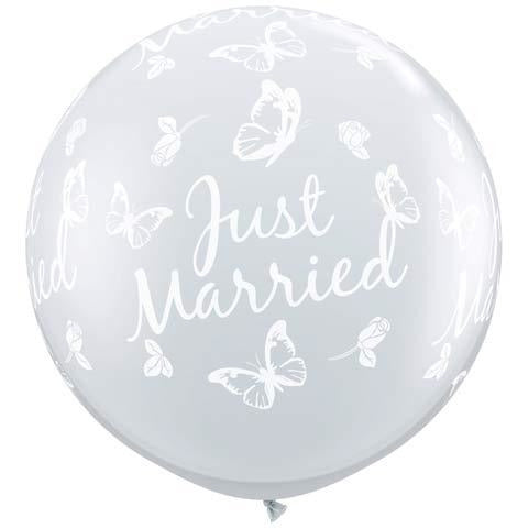 Just Married Butterflies Neck Down Giant Latex Balloons x2