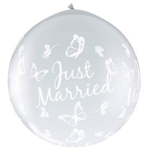 Just Married Butterflies Neck Up Giant Latex Balloons x2