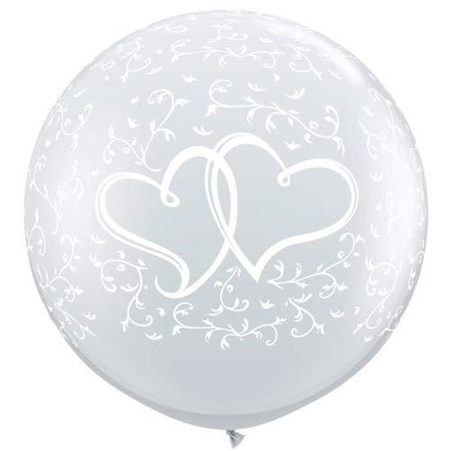 Diamond Clear Entwined Hearts Giant Latex Balloons x2