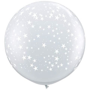 Diamond Clear Stars A Round Giant Latex Balloons x2