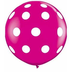 Wild Berry Big Polka Dots Giant Latex Balloons x2