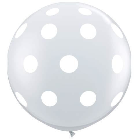 Diamond Clear Big Polka Dots Giant Latex Balloons x2