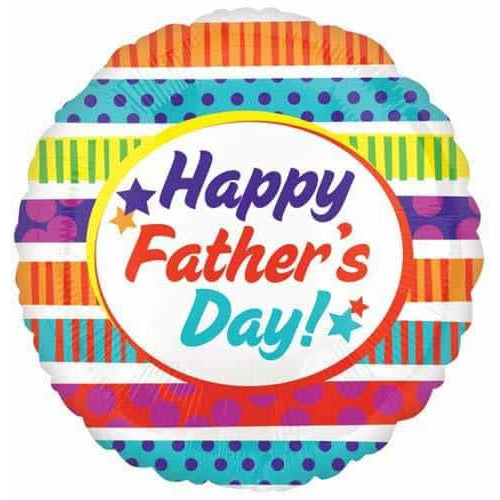 Happy Fathers Day Dots And Stripes Foil Balloons
