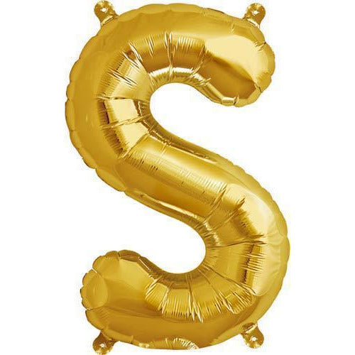 Gold Letter S Air Filled Balloons