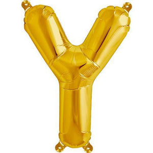 Gold Letter Y Air Filled Balloons