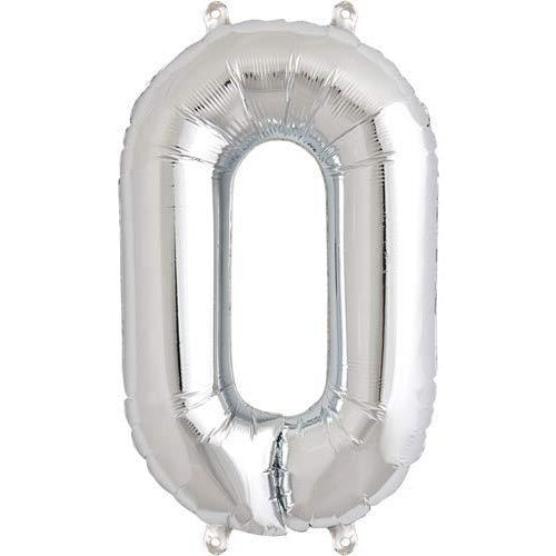 Silver Number 0 Air Filled Balloons