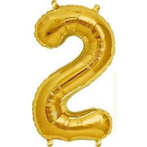 Gold Number 2 Air Filled Balloons - mypartymonsterstore
