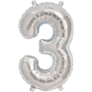 Silver Number 3 Air Filled Balloons - mypartymonsterstore