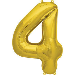 Gold Number 4 Air Filled Balloons - mypartymonsterstore