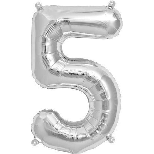 Silver Number 5 Air Filled Balloons