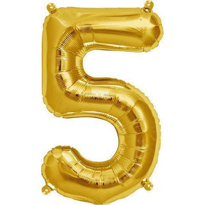Gold Number 5 Air Filled Balloons - mypartymonsterstore
