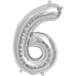 Silver Number 6 Air Filled Balloons - mypartymonsterstore