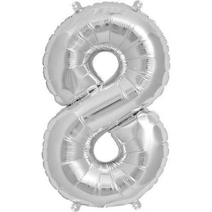 Silver Number 8 Air Filled Balloons - mypartymonsterstore