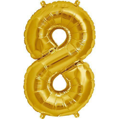 Gold Number 8 Air Filled Balloons
