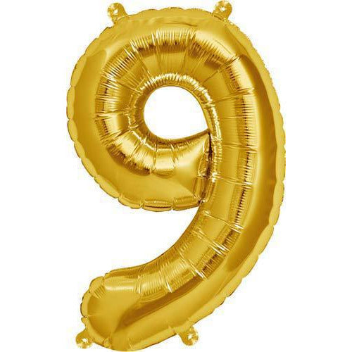 Gold Number 9 Air Filled Balloons