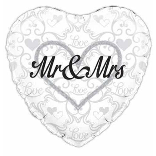 Mr And Mrs Heart Shape Foil Balloons