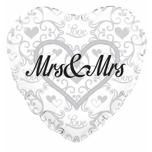 Mrs And Mrs Heart Shape Foil Balloons