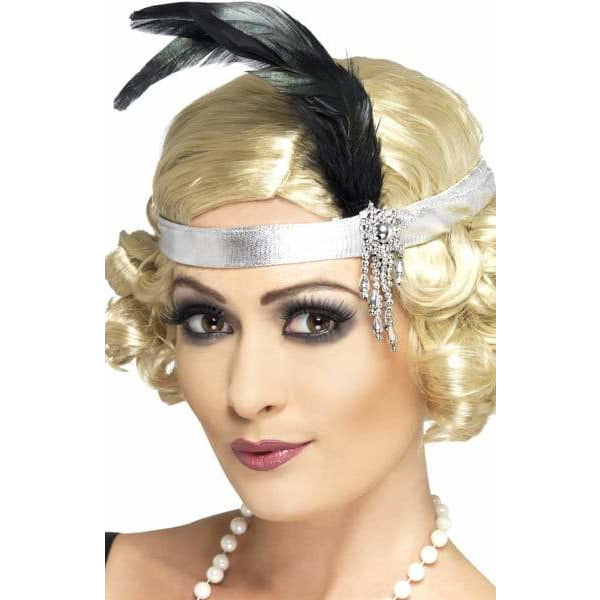 Silver Satin Charleston Headband with Black Feather and Jewel