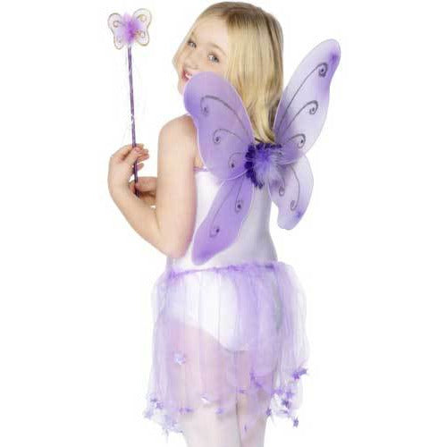 Purple Butterfly Wings with Wand and Flower and Glitter